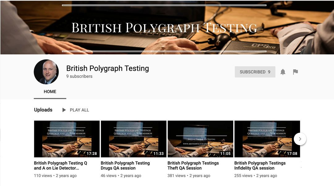 British Polygraph Testings Youtube Channel now Live